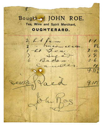 Shop receipt John Roe. Thomas Lyons, Tullaboy