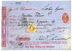 Rent receipt 1907. Sophia Lyons, Tullaboy