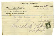 Shop receipt, W. Keogh. Peter Melia, Derrylaura 1928