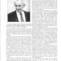 Oughterard Newsletter 1999. Tribute to Tim Molloy