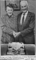 Press cutting 1992. Bridget and Tadgh O'Shaughnessy, Killola