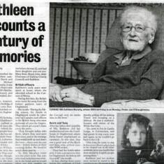 kathleen Murphy, Donnellan. Camp Street  born 1906 Article in the Connacht Tribune 2006