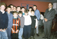 Frank Kyne with students of St Paul's School Oughterard