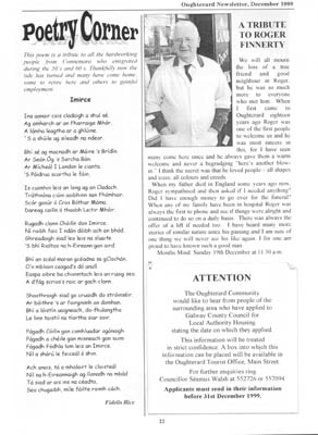 Oughterard Newsletter 1999 Tribute to Roger Finnerty