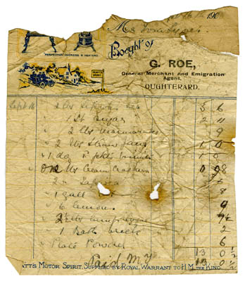 Shop receipt G. Roe 1910. Thomas Lyons, Tullaboy