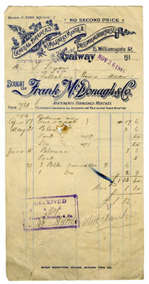 Shop receipt Frank McDonagh 1916. Thomas Lyons, Tullaboy