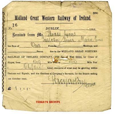 Midland Great Western Railway rent receipt 1916. Thomas Lyons, Tullaboy