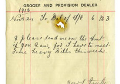 shop receipt Thomas Toole 1913. Thomas Lyons, Tullaboy