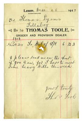 shop receipt Thomas Toole 1913. Thomas Lyons, Tullaboy