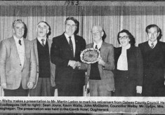 Press cutting 1983. Retirement of Martin Lydon