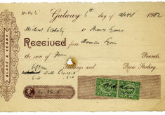 Receipt 1912. Thomas Lyons, Tullaboy