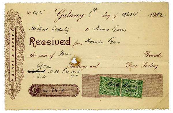 Receipt 1912. Thomas Lyons, Tullaboy