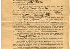 Notice of  old age pension allowance 1936. Peter Melia, Derrylaura