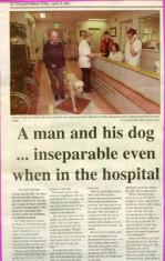 Press cutting 2001. Danny O'Neill and his guide dog Verdi