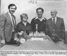 Press cutting.1982 Golf resentation