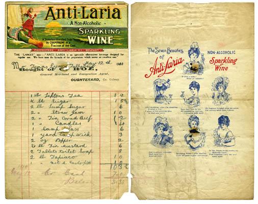 Shop receipt G. Roe 1910. Thomas Lyons, Tullaboy