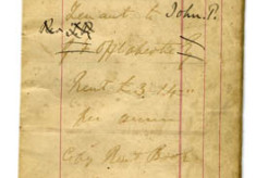 Pages from rent book, Pat Walsh Darcy. Tenant to John O'Fflahertie. 1868