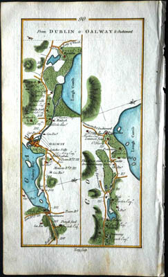 17c. Map Dublin to Galway showing Oughterard