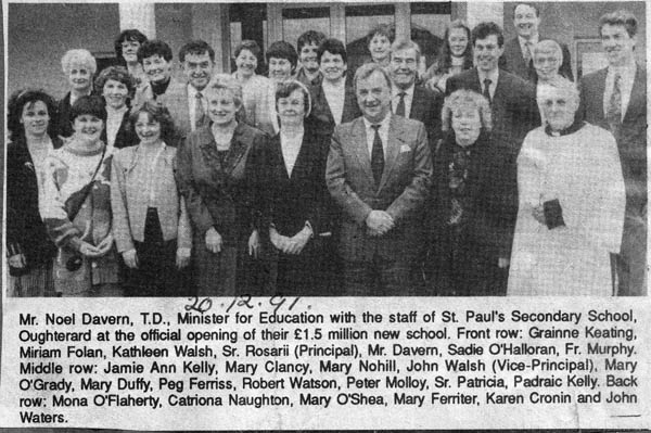 Press cutting 1991. St Paul's secondary school opening