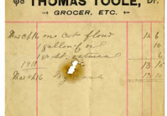 Shop receipt 1911, Thomas Toole. Thomas Lyons, Tullaboy