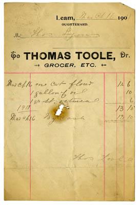Shop receipt 1911, Thomas Toole. Thomas Lyons, Tullaboy