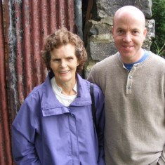 Ellen Finnegan with her son, Paul, at the cottage were she was born ant t'The Factory'. 2008 | Paul Finnegan
