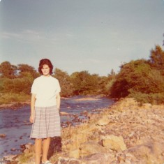 Ellen Finnegan next to The Owenriff river, by'The Factory'. 1976 | Paul Finnegan