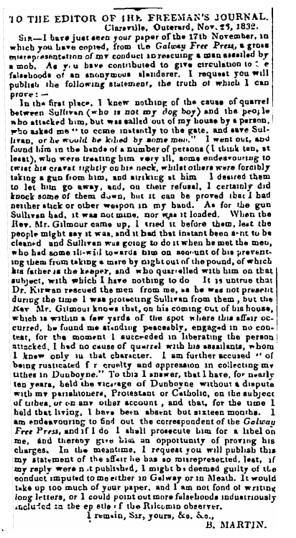 Martin - 1832 - Letter of Rev. Richard Martin - Clareville re alleged assault | Irish Newspaper Archives