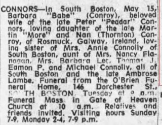 Death Notice of Barbara Conroy Connors House 39 in the 1911 Census