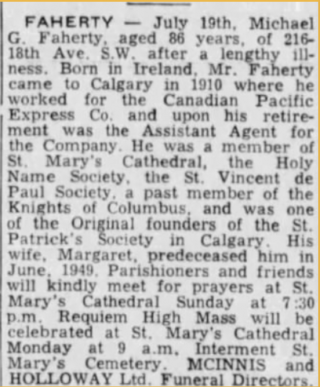 Obituary of Michael G Faherty 1963 Calgary