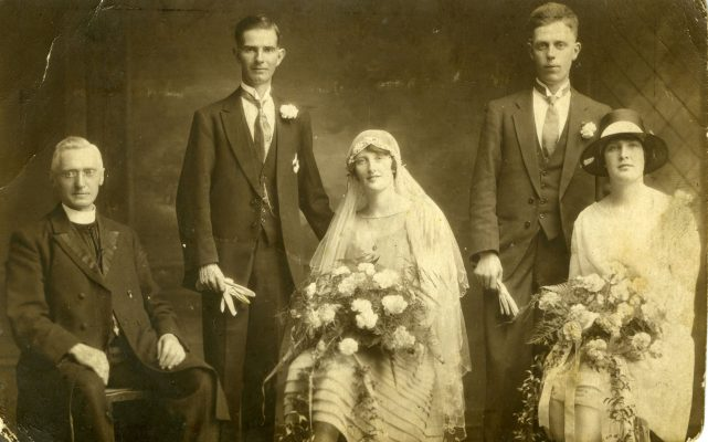 Ellen Faherty KIlkeel, Co. Down with her husband Jim Small and wedding party. Photo taken in Belfast | Padraig Faherty