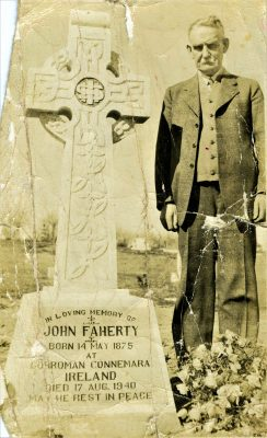 Michael G Faherty 1877-1963 at his brother John's grave  in St Mary's Cemetery, Calgary, Alberta, Canada | Padraig Faherty