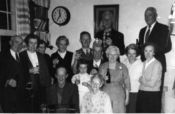 Back Row: Lal O'Connor (Snr) Malachy Higgins (husband of Mary O'Connor) visiting from Boston Middle Row: Jimmy Higgins, Peg O'Connor (Earnor) Boston, unknown, unnknown , Tom O'Connor, unknown, unknown, Mary (O'Connor) Higgins, Winifred (O'Connor) Faherty Front row: Martin Joe O'Connor (neighbour from Camp Street) Bridget 'Mod' (Fahy) O'Connor. All unknowns are members of the Higgins family visiting from Barnaderg, Tuam | Padraig Faherty