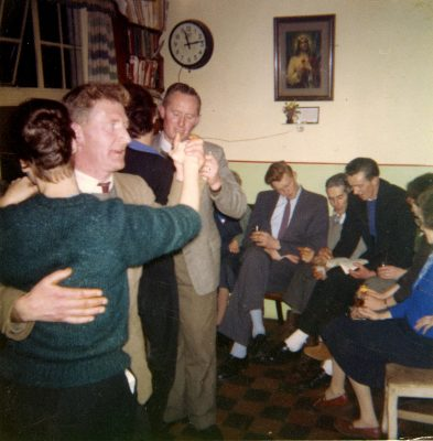 Roger Finnerty dancing with the lady in green, Tom O'Connor also dancing in the Faherty Kitchen in Camp Street | Padraig Faherty