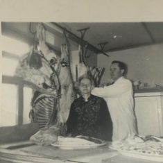 Tom O'Connor & his mother Mod in the butcher shop in Camp Street | L O'Connor