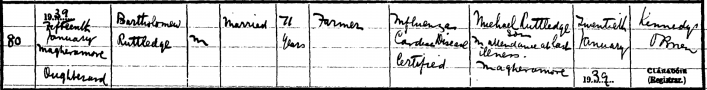 death record Bartholomew Rutledge
