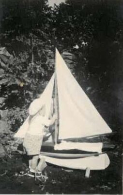 Gerard Kinneavy with model yacht made by his father Paddy 1950/1951