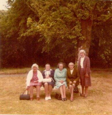 Kathleen Gannon, Annie O'Connor, Mrs. Molloy(Tommy 's Mother, Glann), Delia Lambert and Marcella Kinneavy on an outing to Lough Key Forest Park in the very early 1980's.