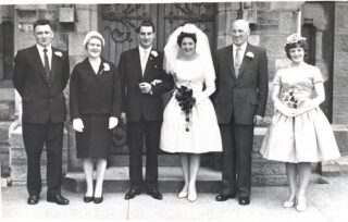 Tony's sister Ann on her wedding day to Aidan Clarke with their parents and sister Carmel (RIP)