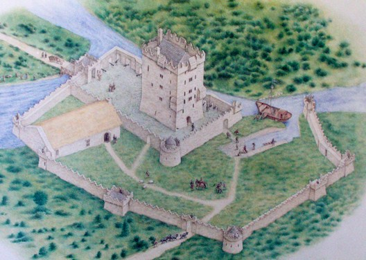 Diagram of Aughnanure Castle c. 1500s