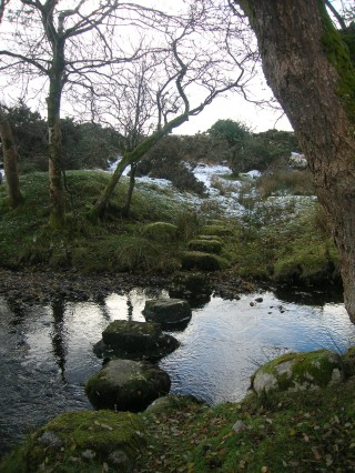 Stepping stones across the Bunowen River where the