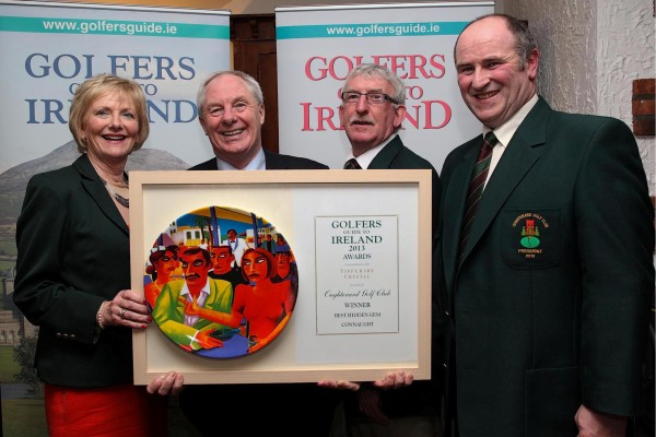 The picture shows Lady Captain of Oughterard Golf Club, Mary McInerney, Minister of State Michael Ring, Captain of Oughterard Golf, Pierce O'Malley and President of Oughterard Golf, Tim Hernon.
