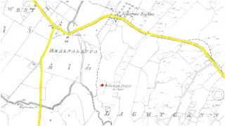 OSI map (1829-41) showing old road layout (yellow) and Killaroon church (red)