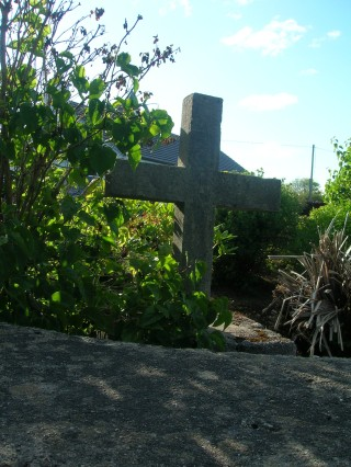 Concrete cross in memory of Robin Martin