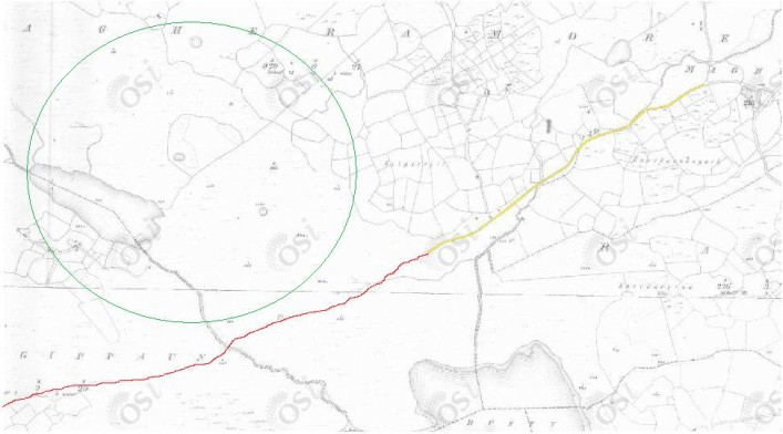 Road from Magheramore (yellow) leading to trackway to Seanafeistín (red) with the modern road from the town missing (green circle)