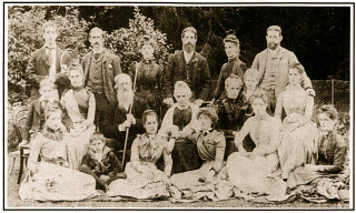 Rev. Theobald Richard O'Fflahertie, his wife Mary Ann and 14 children 1888 at Lemonfield
