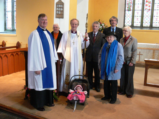 Bishop Patrick visits Kilcummin on Sunday 29th January seen here from the left, Steve Ellis, Bart Wynan, Bishop Patrick,Lilly Lyons (youngest member of the congregation) Leslie Lyons, Phil Furness (oldest      member), Walter deLacy and Margaret Larminie.