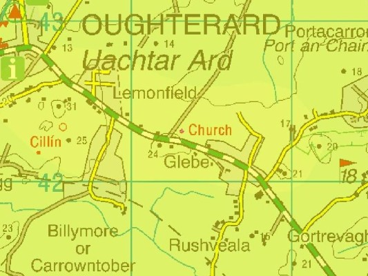 Ordnance Survey Map showing Rushveala to south-east of Oughterard town.