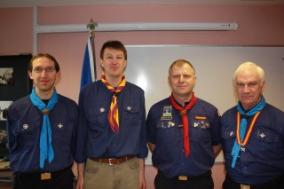 Scout group leader Neil Mooney (second from left) at investiture 11th December 2011
