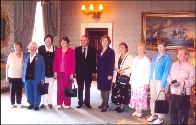 L-R:  Chris McDonnell, Nuala Walsh, Sarah Kay, Mary O'Malley, Dr. Martin McAleese, President Mary McAleese, Helen McQuinn, Mary Gillespie, Maureen Conneely, Patricia Curran.